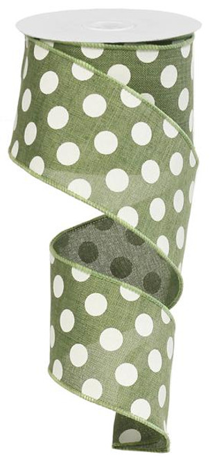 "2.5"" x 10yd Canvas Polka Dot Ribbon: Clover Green/White"