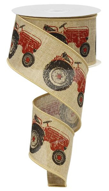 "2.5"" Tractor Ribbon: Natural/Red (10yds)"
