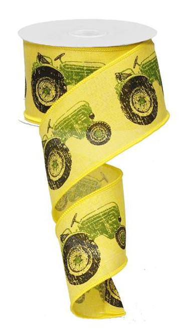"2.5"" Tractor Ribbon: Yellow/Green (10yds)"