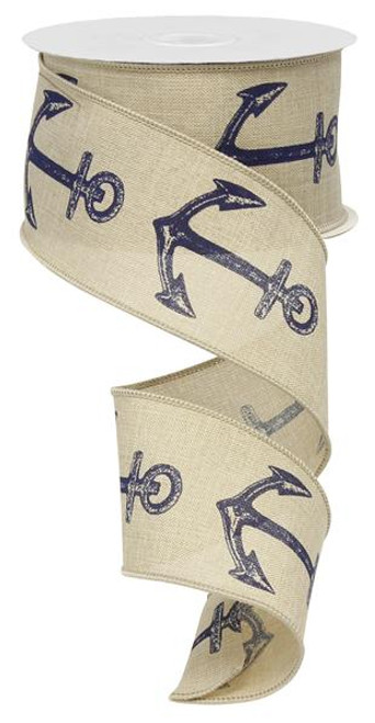 "2.5"" Bold Anchor Ribbon: Lt Natural/Navy"