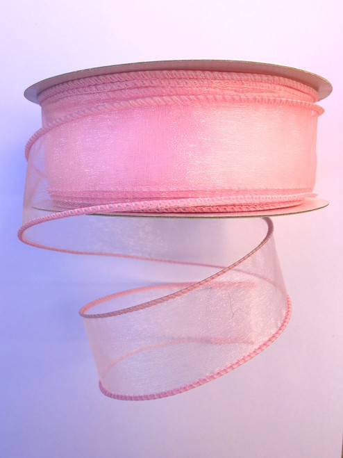 "1.5"" Sheer Wired Ribbon: Light Pink (25yds)"