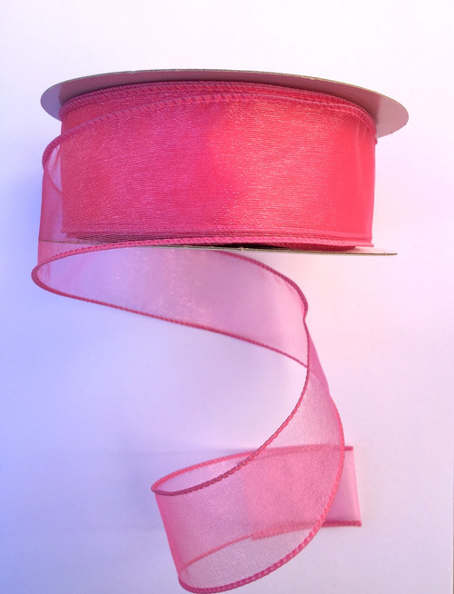 "1.5"" Sheer Wired Ribbon: Hot Pink (25yds)"