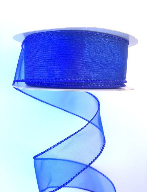 "1.5"" Sheer Wired Ribbon: Royal Blue (25yds)"