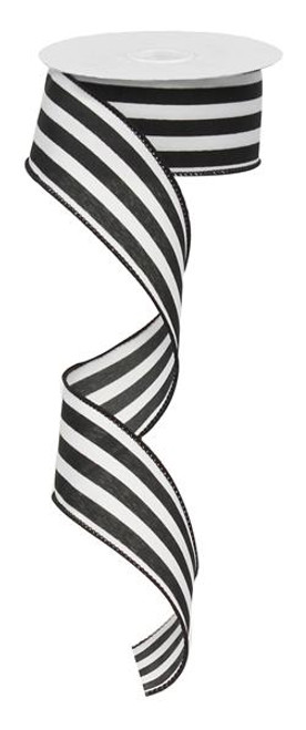 "1.5"" Vertical Striped Ribbon: Black/White-10Yds"