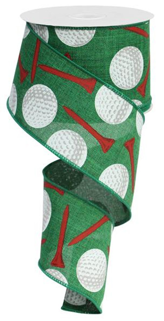 "2.5"" Golf Ball Ribbon: Green"