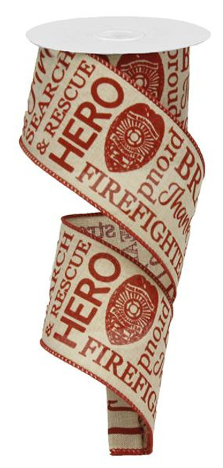 "2.5"" Firefighter Ribbon: Light Canvas/Red - 10yds"