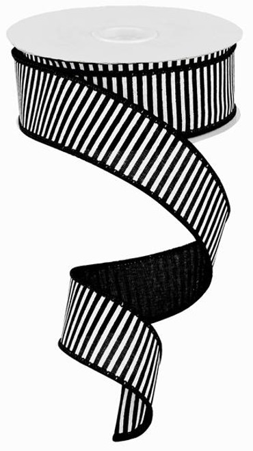 "1.5"" Horizontal Stripe Ribbon: Black/White - 10Yds"