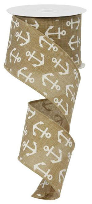 "2.5"" Canvas Multi Anchor Ribbon: Beige/White"