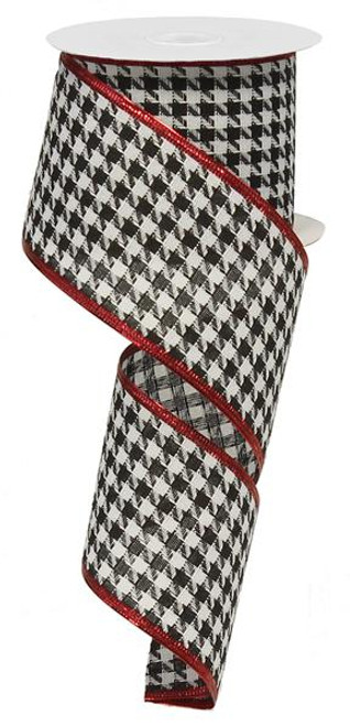 "2.5"" Houndstooth Ribbon Crimson Border - 10Yds"