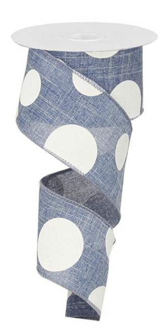 "2.5"" x 10yd Linen Giant Dot Ribbon: Blue Denim/White"