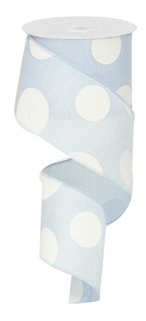 "2.5"" x 10yd Linen Giant Dot Ribbon: Lt Blue/White"