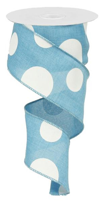 "2.5"" x 10yd Linen Giant Dot Ribbon: Turquoise/White"