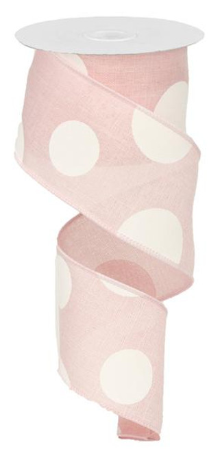 "2.5"" x 10yd Linen Giant Dot Ribbon: Lt Pink/White"
