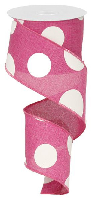 "2.5"" x 10yd Linen Giant Dot Ribbon: Hot Pink/White"