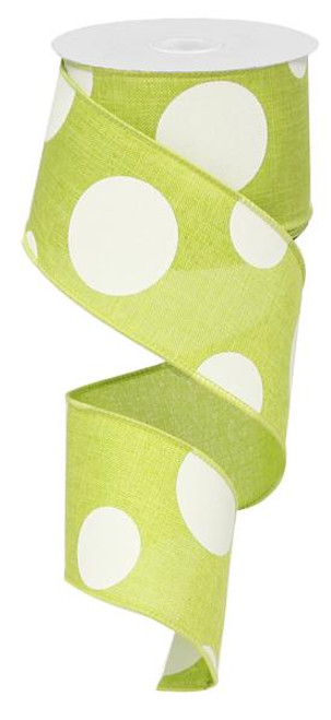 "2.5"" x 10yd Linen Giant Dot Ribbon: Lime Green/White"