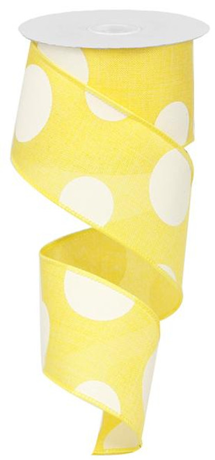"2.5"" x 10yd Linen Giant Dot Ribbon: Yellow/White"