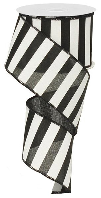 "2.5"" x 10yd Horizontal Stripe Ribbon: Black/White"