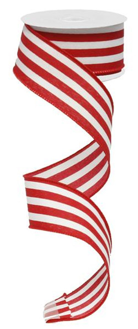 "1.5"" Vertical Striped Ribbon: Red/White-10Yds"