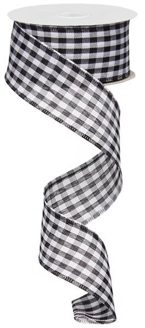 "Black and White Gingham Check Ribbon - 1.5"" X 10Yds"