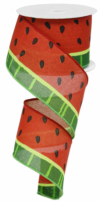 "2.5"" Watermelon Print Canvas Ribbon: Red- 10Yds"