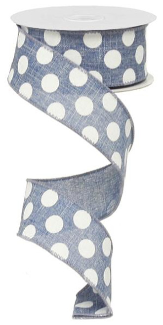 "Blue Denim/Wht Polka Dot Ribbon - 1.5"" x 10Yds"