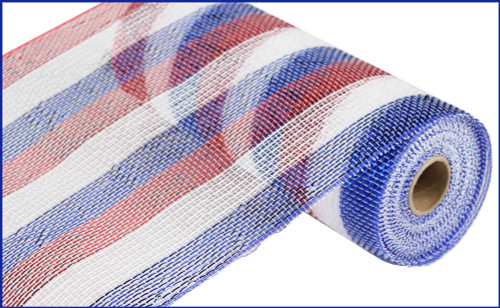 "10"" Deco Poly Mesh: Metallic Stripe Patriotic Red White Blue"