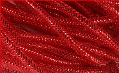 Metallic Deco Flex Tubing: Red with Red Foil - 8mm