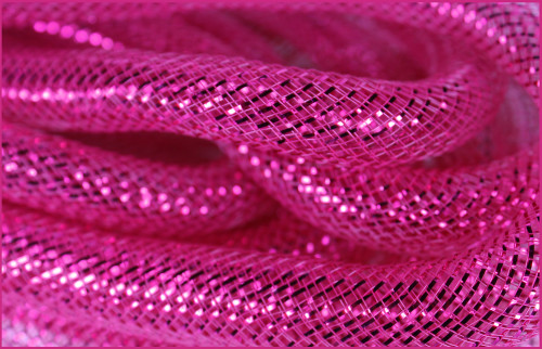 Metallic Deco Flex Tubing: Fuchsia with Fuchsia Foil - 8mm
