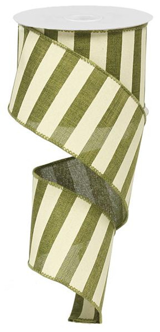 "2.5"" x 10yd Horizontal Stripe Ribbon: Moss Green/Ivory"