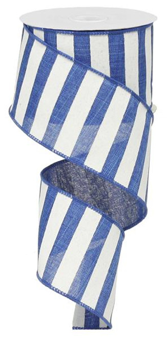 "2.5"" x 10yd Horizontal Stripe Ribbon: Royal Blue/White"