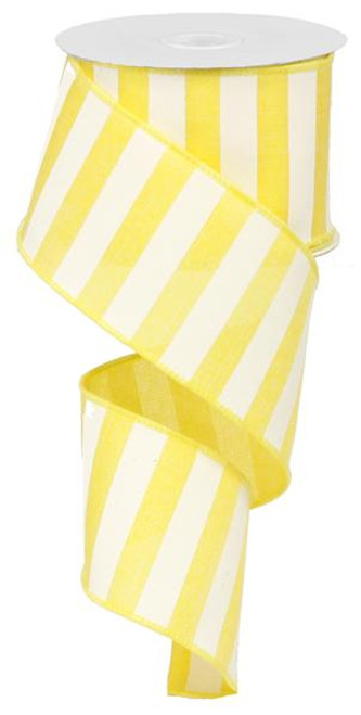 "2.5"" x 10yd Horizontal Stripe Ribbon: Yellow/White"
