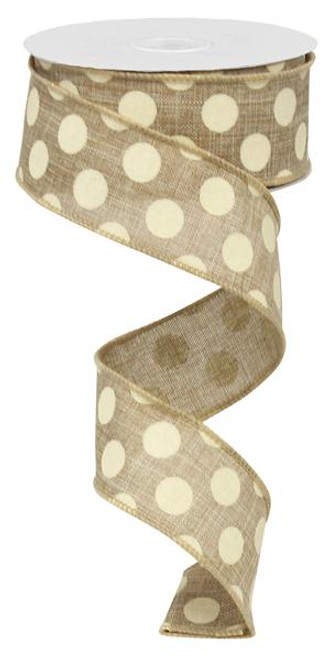 "Natural Beige/Ivory Polka Dot Ribbon - 1.5"" x 10Yds"