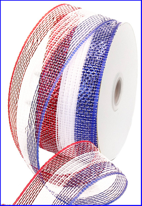 """Red White and Blue Striped Deco Mesh with Foil - 2.5"""" X 25Yds"""