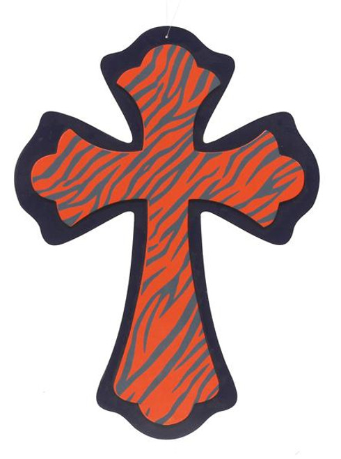 Animal Print Cross: Navy/Orange