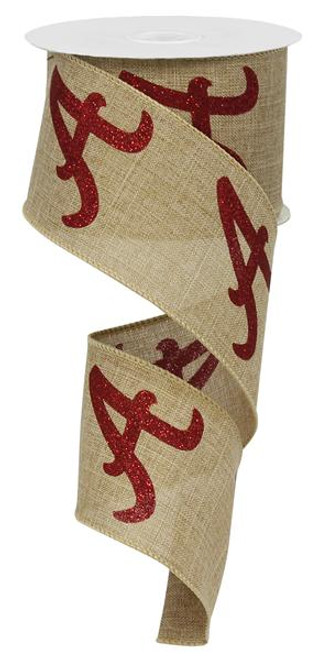 """2.5"""" Lt Beige Ribbon with Red A - 10Yds"""