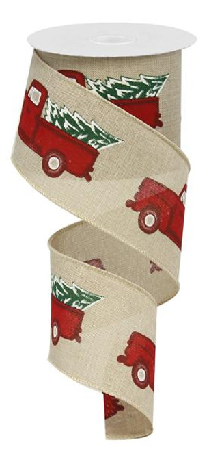 "2.5"" Vintage Truck with Tree Ribbon: Lt Natural/Red/Green"