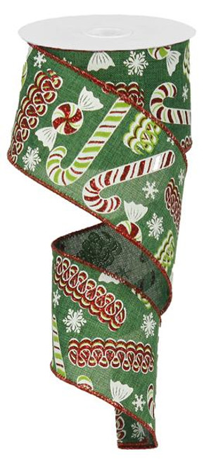 "2.5"" Christmas Candy Ribbon: Emerald Green/Red/Wht - 10Yds"