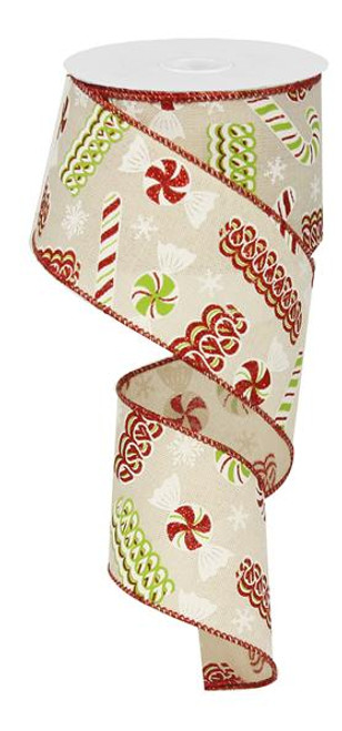 "2.5"" Christmas Candy Ribbon: Cream/Red/Lime- 10Yds"