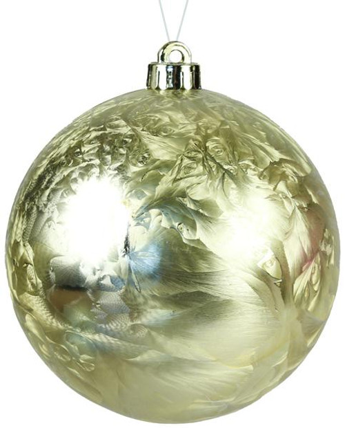 80mm Smooth Feathered Ball Ornament: Gold