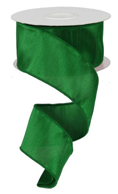 "2.5"" Faux Dupioni Ribbon: Emerald Green - 10Yd"