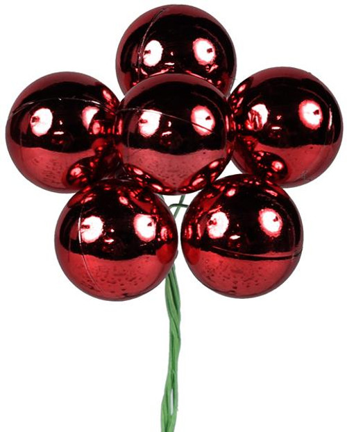 70mm Shiny Ball Ornament on Wire: Red (12)