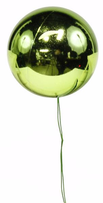70mm Shiny Ball Ornament on Wire: Lime Green (12)