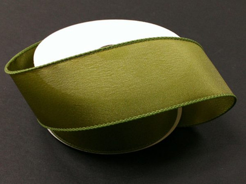 """Solid Moss Green Satin Ribbon Wired 2.5"""" x 10Yds"""