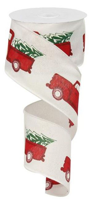 "2.5"" Vintage Truck with Tree Ribbon: White/Red/Green"