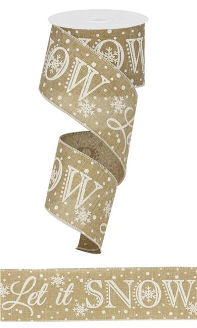 "2.5"" Let it Snow Ribbon: Lt Beige - 10Yds"