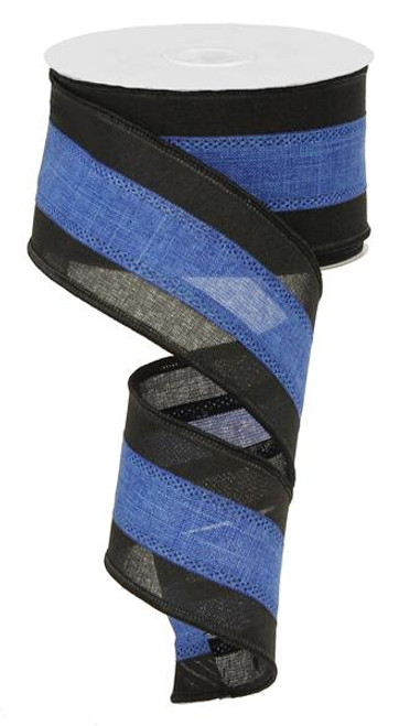 "2.5"" Tri-Stripe Ribbon: Royal Blue/Black"