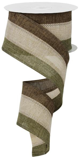 "2.5"" Tri-Stripe Burlap Ribbon: Moss/Beige/Brown- 10Yds"
