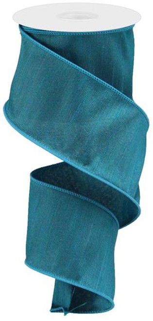 "2.5"" Faux Dupioni Ribbon: Teal - 10Yd"