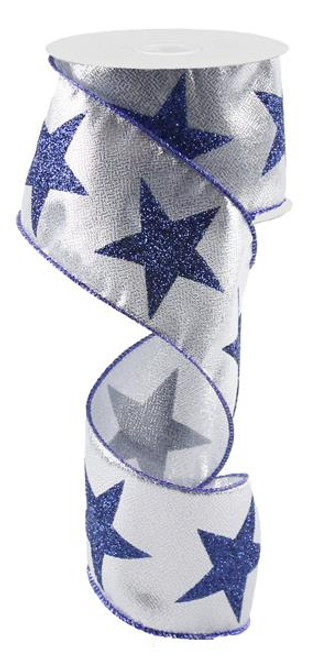 "2.5"" X 10Yds Bold Star Metallic Ribbon: Silver/Navy Blue"