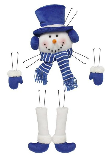 Plush Snowman Wreath Decor Kit: Blue